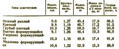 Продуктивность свиноматок крупной белой породы, отнесенных к различным типам конституции