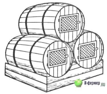 Клетки для кроликов из бочки