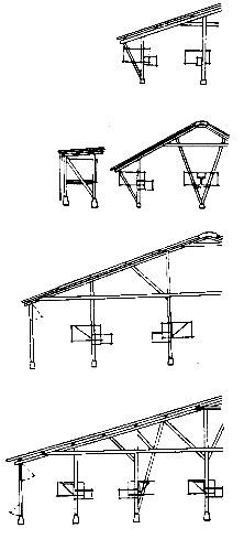Варианты разных конструкций шедов и закрытых строений для зверей