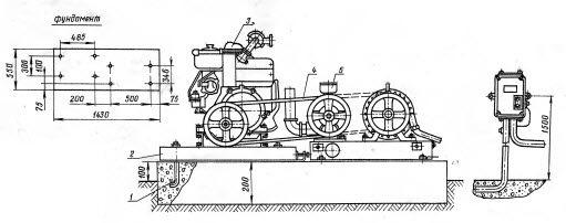 Схема установки двигателя внутреннего сгорания