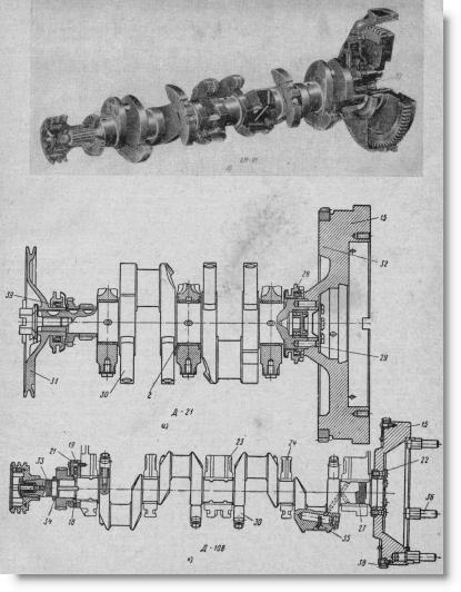 коленчатые валы и коренные подшипники в двигателях тракторов, фото и схема