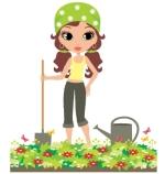 Девушка садовод, рисунок