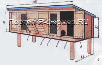 Самодельные клетки для кроликов на две подсосные кроликоматки с постоянным гнездовым отделением, чертёж