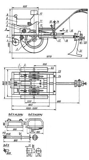Схема самодельного мотоплуга
