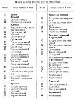 Шкала классов окраски цветов гладиолуса
