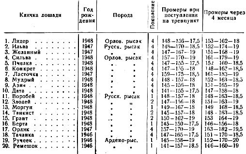 Интенсивность развития помесей орловско-русской рысистых пород в возрасте 2 лет под влиянием улучшенного кормления и содержания