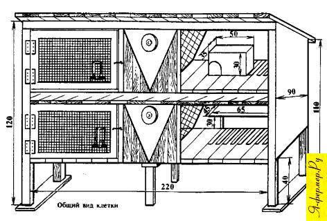 Усовершенствованная конструкция клетки для кроликов