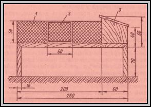 Чертёж клетки для нутрий с сетчатым выгулом и деревянным домиком.