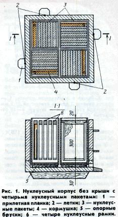 Нуклеусный корпус без крыши с четырьмя нуклеусными пакетами