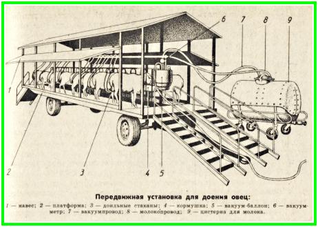 передвижная установка для дойки овец, рисунок