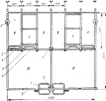 Станки для свиноматок. Схема станка для подсосной матки с поросятами (ССИ-2).