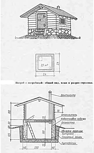 Погреб с погребицей: общий вид и разрез строения