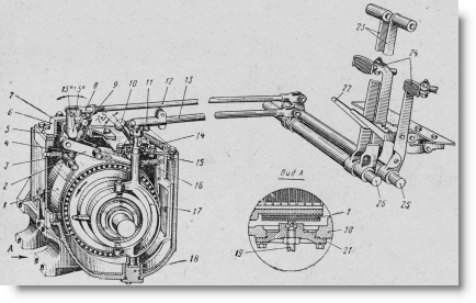 механизм управления трактором Т-74