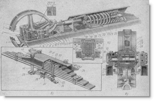 натяжное устройство и рессоры ходовой части трактора Т-100М