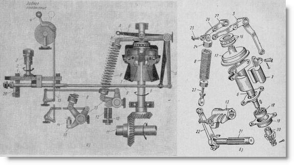 схема и детали регулятора тракторного двигателя Д-108
