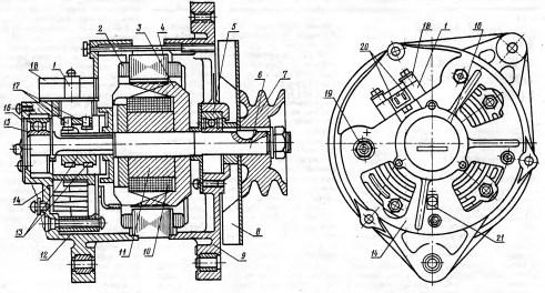 Основные составные части генератора трактора рисунок