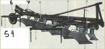 Полунавесной шестикорпусный плуг
